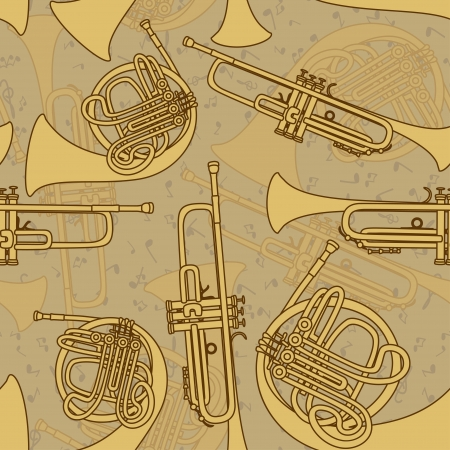 Vintage seamless pattern of trumpets Stock Vector - 20179565