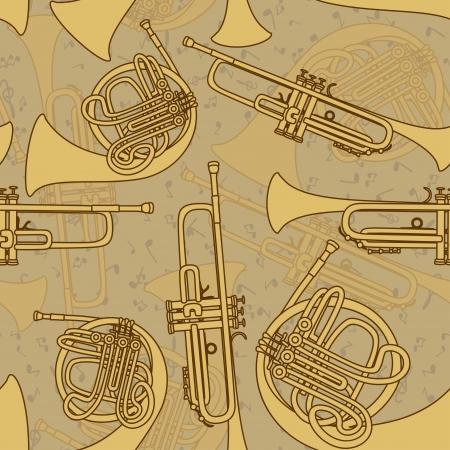 folk music: Vintage seamless pattern of trumpets Illustration