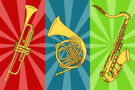 mouthpiece: Illustration with isolated trumpets and saxophone on a colorful background Illustration
