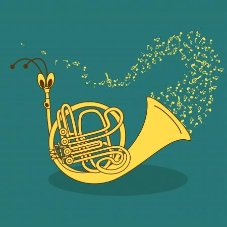 wind instrument: Illustration with comic cartoon snail trumpet Illustration