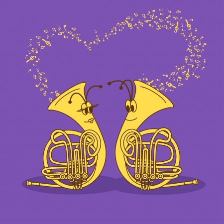 wind instrument: Illustration with comic cartoon snail trumpets
