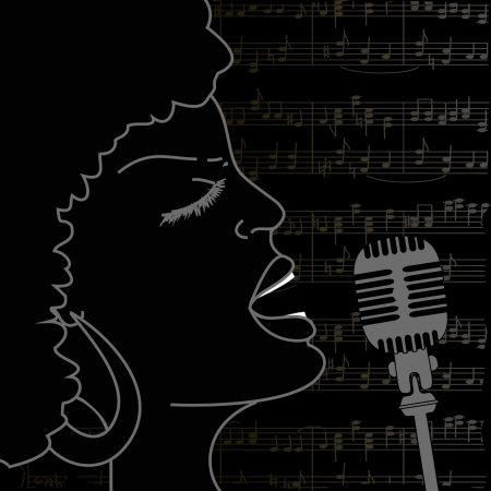 sexy black woman: Portrait of emotionally singing woman