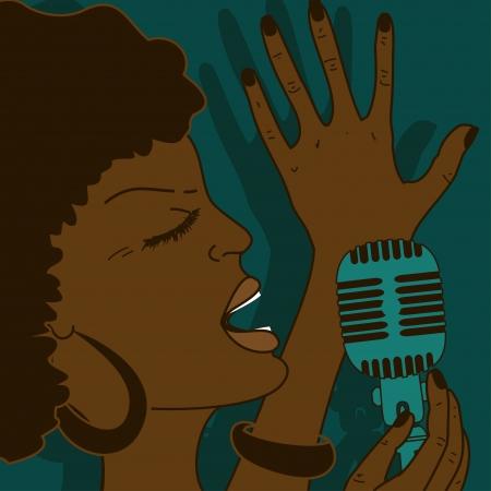感情的に歌の女性の肖像画  イラスト・ベクター素材