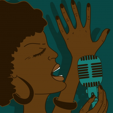 funk: Portrait of emotionally singing woman