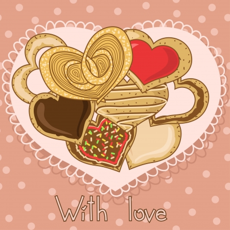 homemade cake: Set of delicious heart shape cookies on an openwork napkin Illustration
