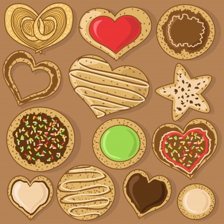 homemade cake: Set of isolated tasty cookies
