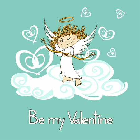 Card for Valentine's Day with funny cartoon cupid shooting by bow Stock Vector - 20179576