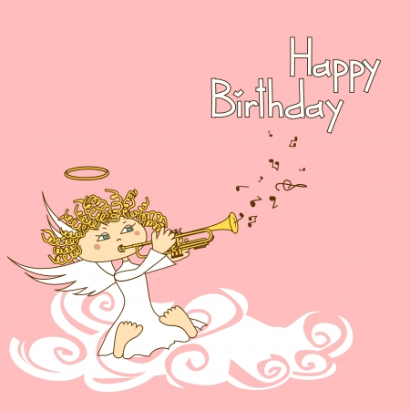 birthday angel: Card for birthday with cartoon cupid playing the trumpet Illustration
