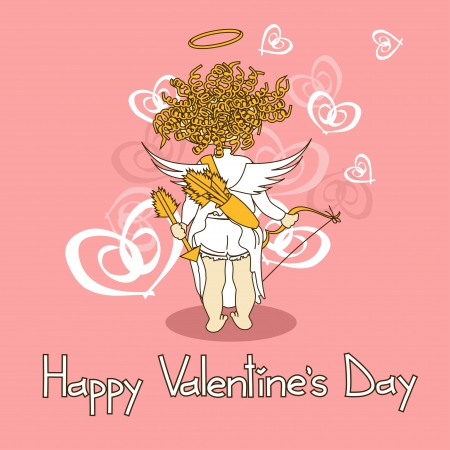 Card for Valentines Day with funny cartoon cupid  Vector