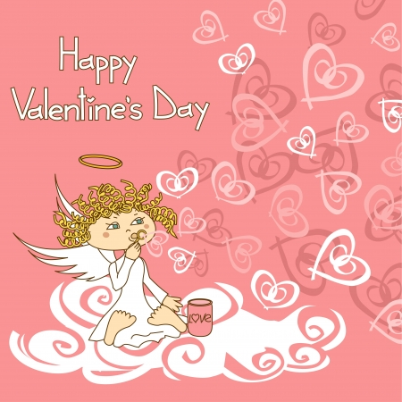 Card for Valentines Day with funny cupid and soap bubbles Vector