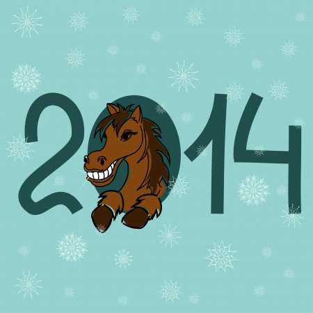 cartoon new: Cartoon New Year and Christmas card with 2014 stylized numbers