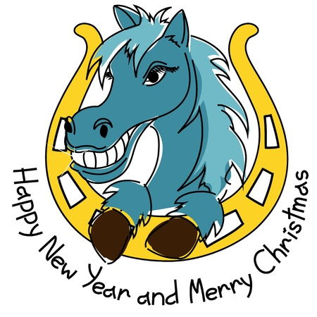 New Year and Christmas card with horse and horseshoe Vector