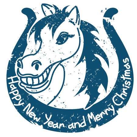 New Year and Christmas stamp with horse and horseshoe Vector