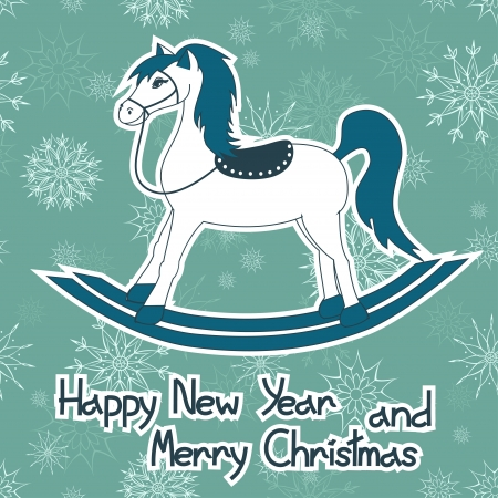 year of horse: New Year and Christmas card with rocking toy horse Illustration