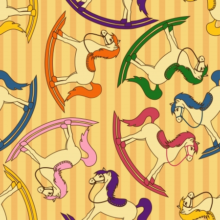 Seamless pattern of rocking toy horses Vector