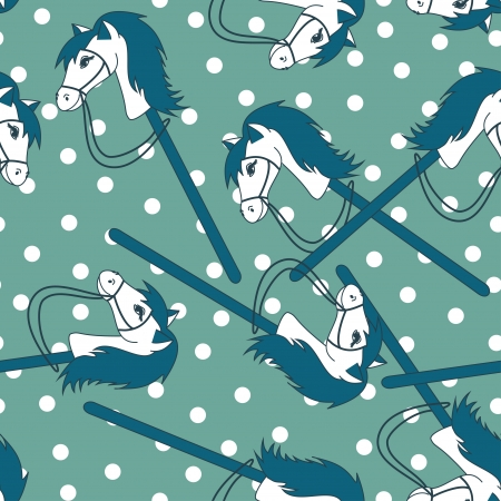 Seamless pattern of toy horses on a blue background Vector