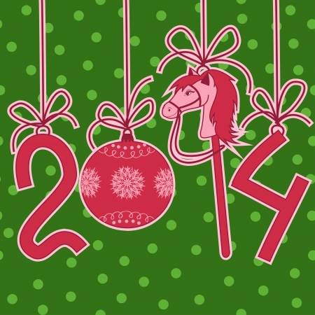cartoon new year: Cartoon New Year and Christmas card with 2014 stylized numbers