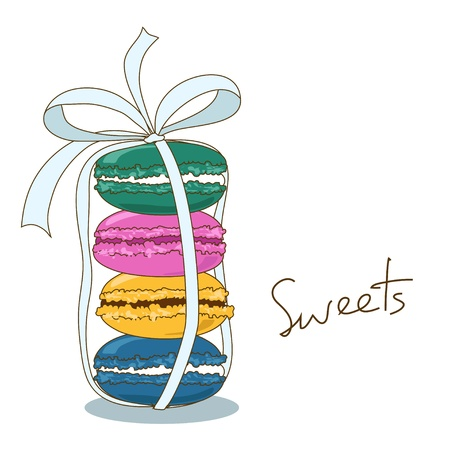Background of delicious French macaroons  Vector