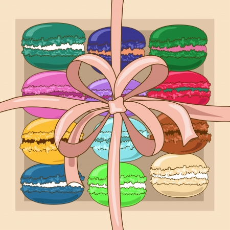 teatime: Colorful French macaroons in a gift box