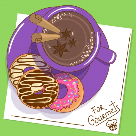 Illustration with cup of hot chocolate with spices and tasty donuts Vector