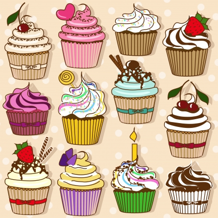 Set of isolated icons of colorful cupcakes Vector