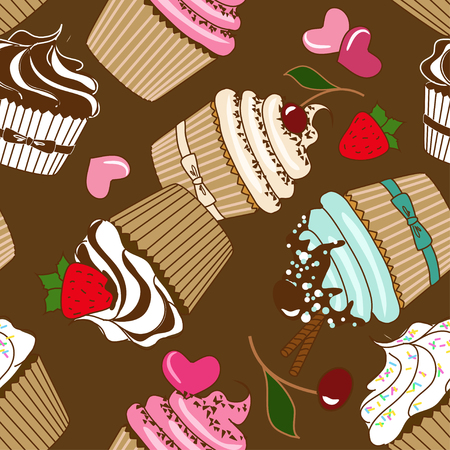 Seamless pattern of tasty cupcakes Vector