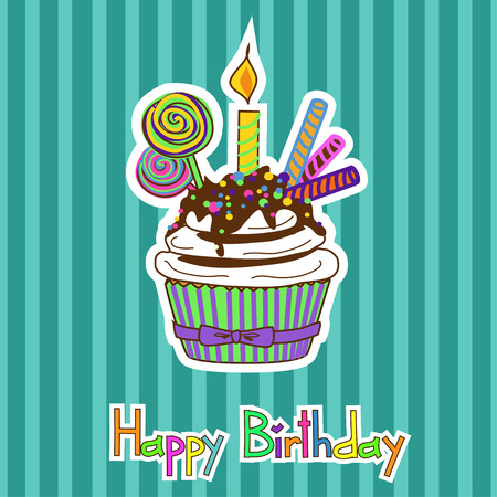 neonate: Card for birthday with colorful cupcake