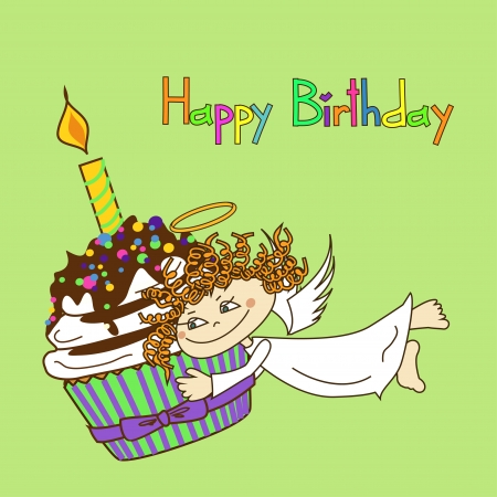 happy birtday: Card for birthday with Angel and big cupcake