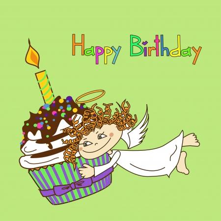 birthday angel: Card for birthday with Angel and big cupcake