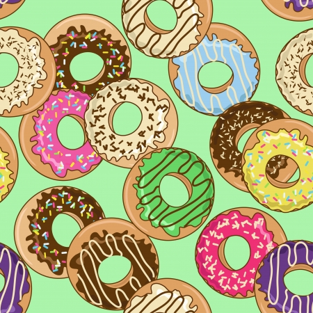Seamless pattern of colorful donuts Vector