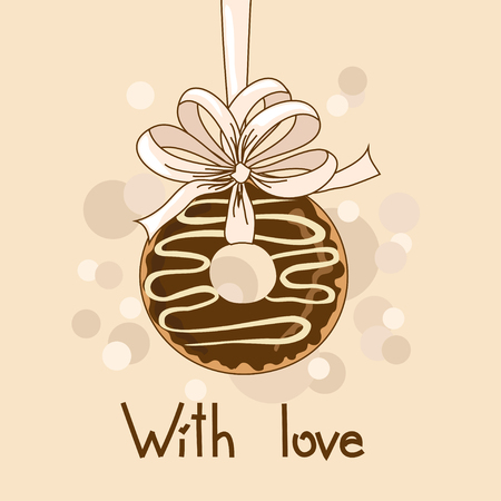 Background with chocolate donut and text with love Vector