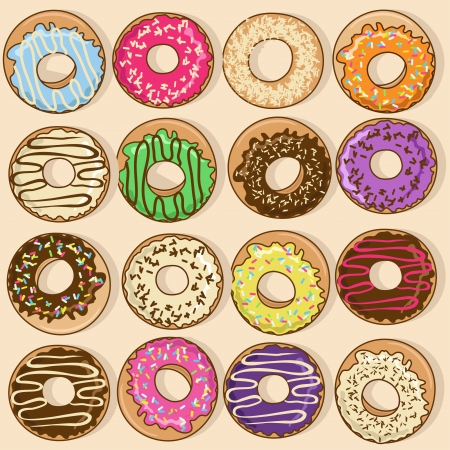 Isolated icons of colorful donuts Vector