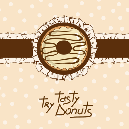 a frill: Illustration with tasty donut on a frill backgraond Illustration