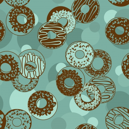Seamless pattern of tasty donuts Vector