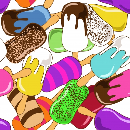 soft ice: Seamless pattern of colorful ice cream