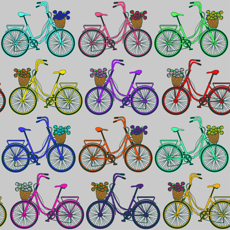 eco flowers basket: Seamless pattern of colorful bicycles on a grey background