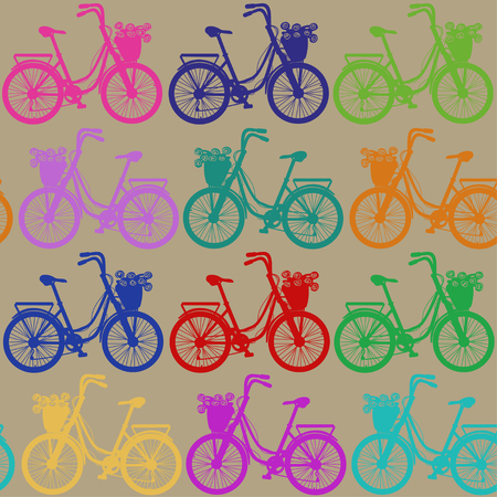 Seamless pattern of colorful bicycles with basket full of flowers Vector