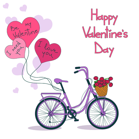 eco flowers basket: Card for Valentines day with bicycle and balloons