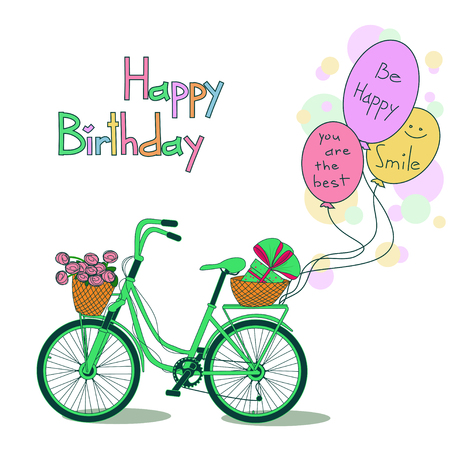 eco flowers basket: Greeting card for Birthday with bicycle and balloons