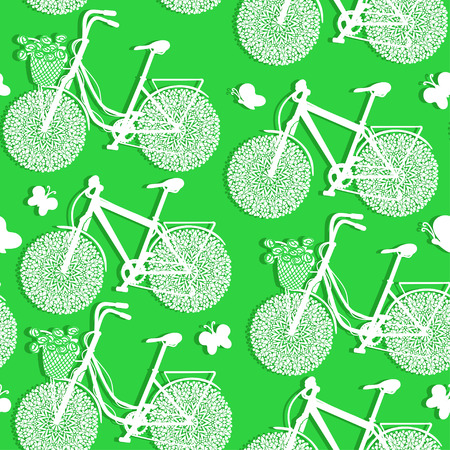 eco flowers basket: Seamless pattern of bicycles made of paper on a green background Illustration