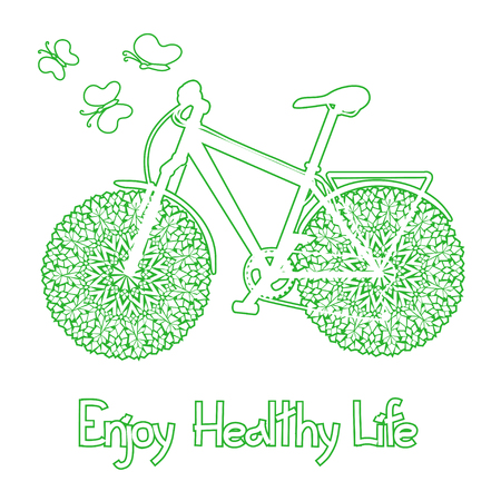 Background with eco bicycle and text enjoy healthy life Vector
