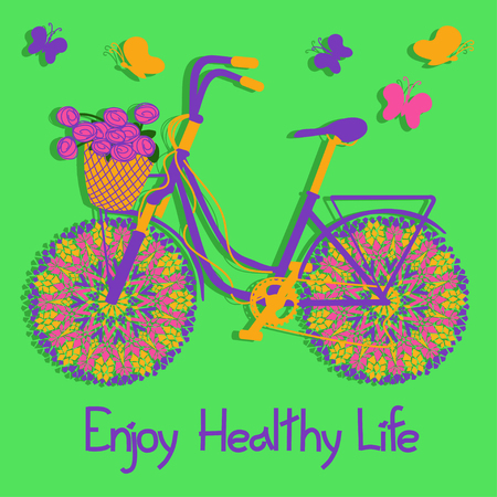 Background with colorful eco bicycle and text enjoy healthy life Vector