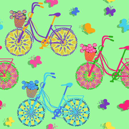 Seamless pattern of colorful  floral bicycles Vector