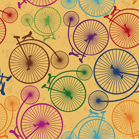 Seamless pattern of colorful retro bicycles on a vintage background Vector