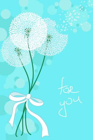 Greeting card with air lacy dandelions Illustration