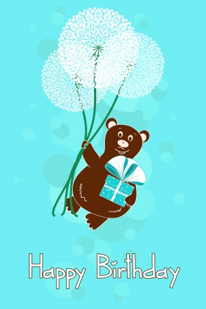Greeting card for Birthday with bear and dandelions in the sky Illustration