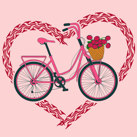 Background with pink bicycle and heart made of tire track Stock Vector - 23498602