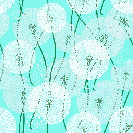 Seamless pattern of lacy dandelions