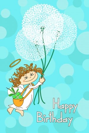 Greeting card for Birthday with Angel and dandelions in the sky Illustration