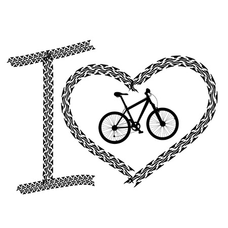 Black print of I love bicycle made of tire track Stock Vector - 23498608